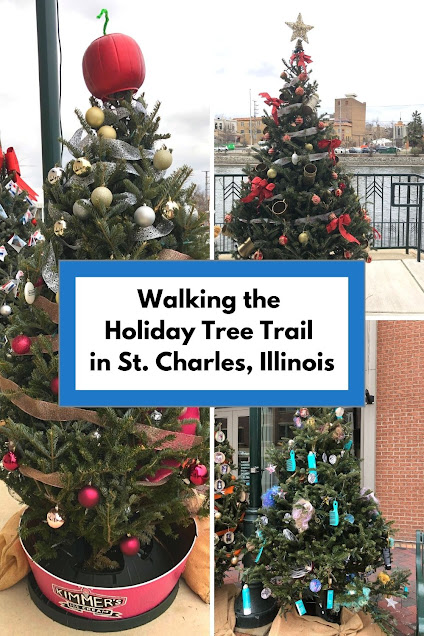 Walking the Holiday Tree Trail in St. Charles, Illinois