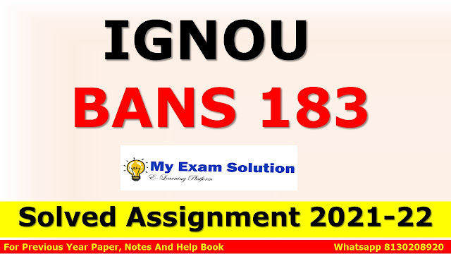 BANS 183 Solved Assignment 2021-22