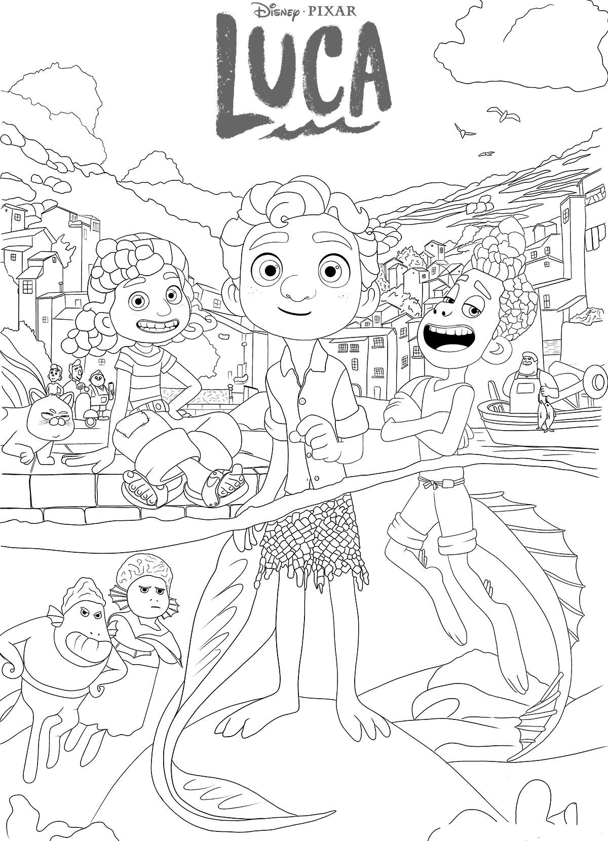 Desenho de Luca, o filme da Disney Pixar para colorir
