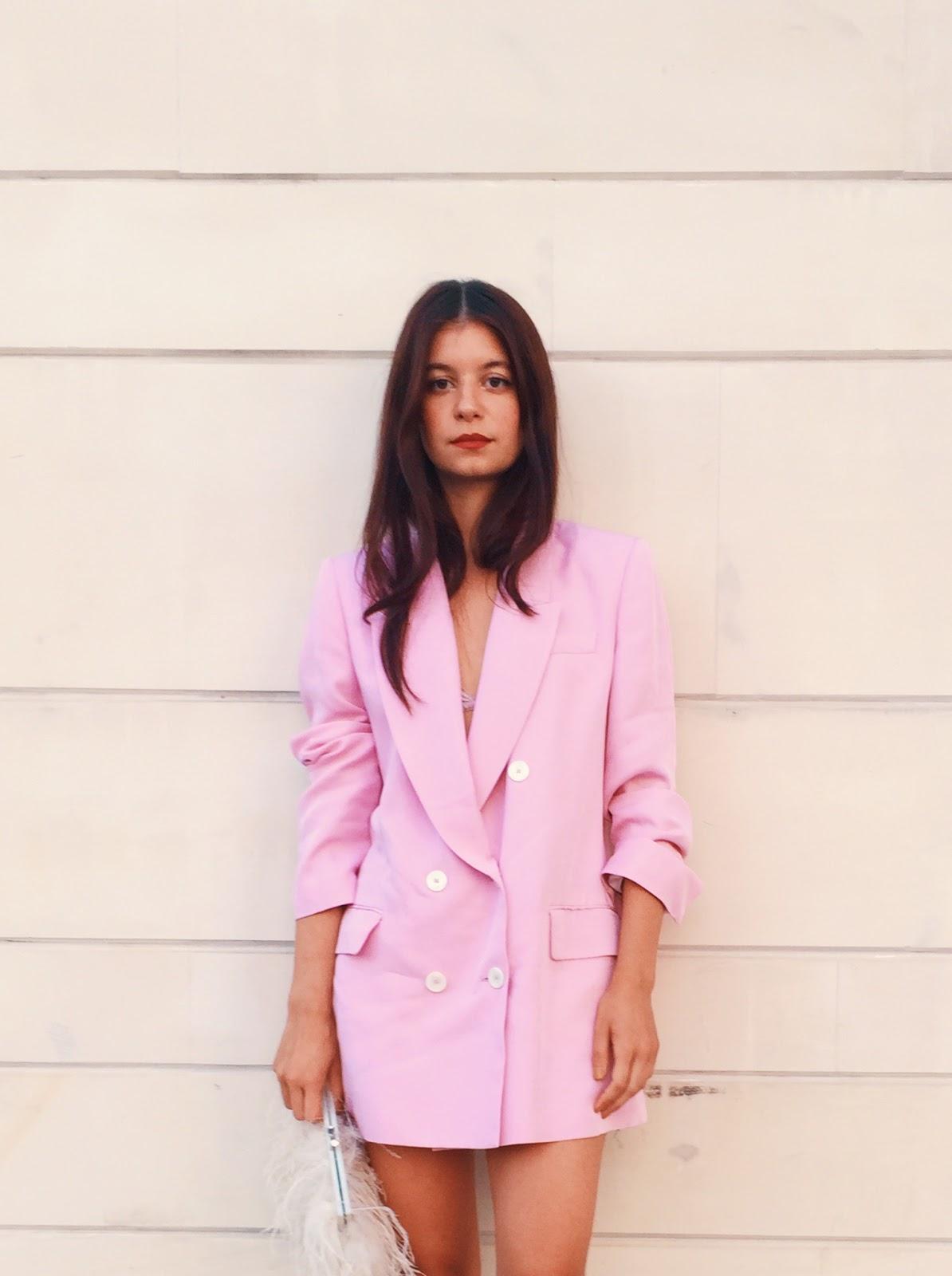 pink blazer, zara blazer, pink, blazer, summer, brunette, red lips