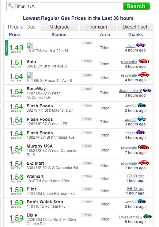 Walmart Gas Prices Near Me >> Tiftarea News 2 25 2016 Area Gas Prices According To Gasbuddy