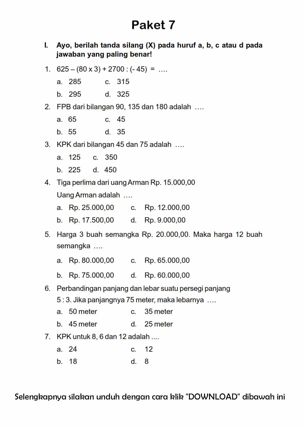 Download Soal Uas Ganjil Kelas 5 Semester 1 Matematika