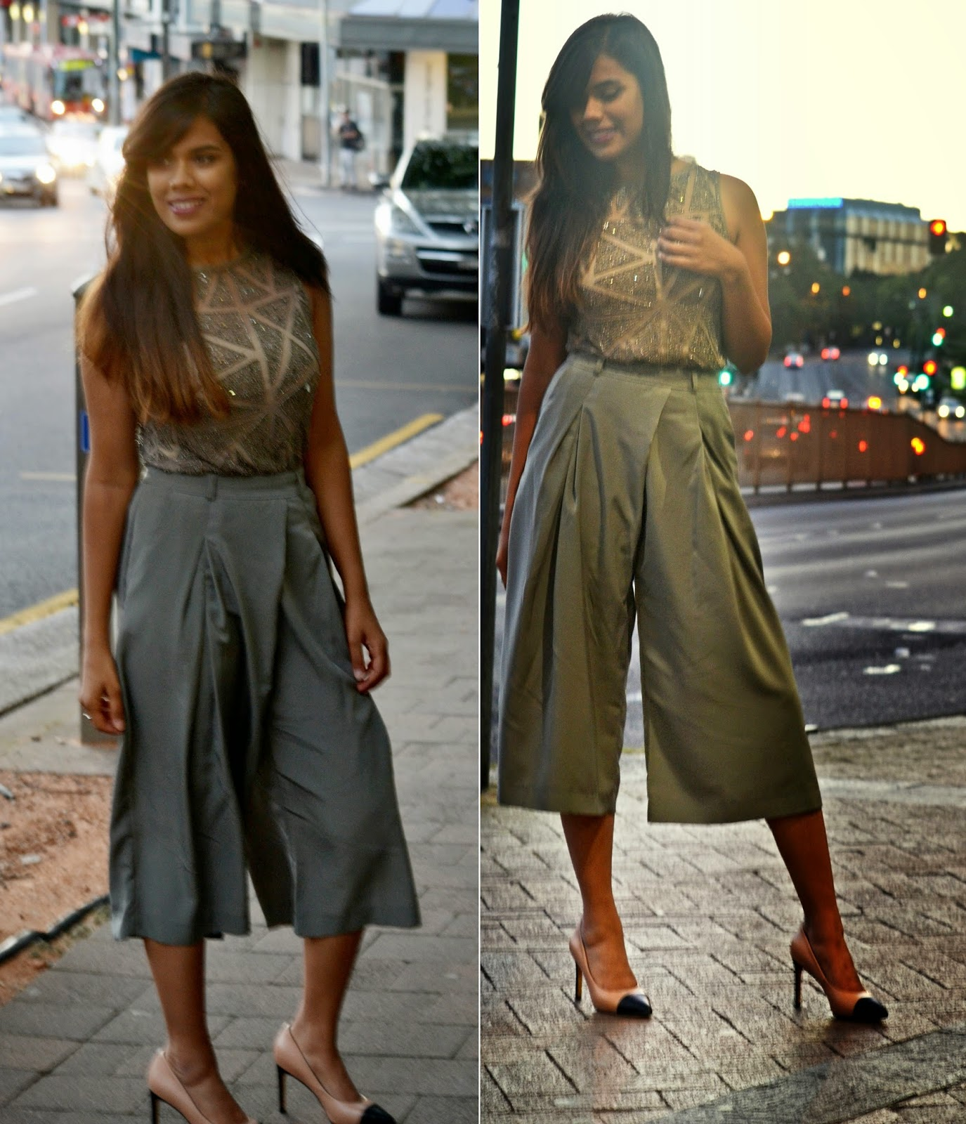 Grey pants, culottes, grey sequin top, asos sequin top, asos culottes