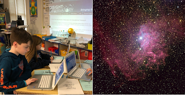 5th-grade students using the Educational Image Request (EIR) form to request images from the ATEO remote telescope network (left). IC 405 - The Flaming Star Nebulae imaged on ATEO-1 (right).
