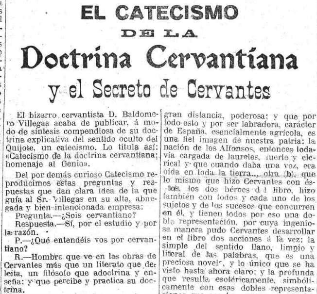 Reseña de la obra «El catecismo de la doctrina cervantina»  publicada en El País el 8-8-1916