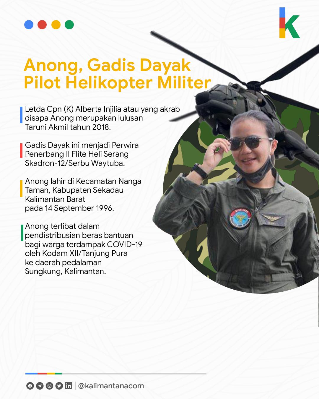 Anong, Gadis Dayak yang Menjadi Pilot Helikopter