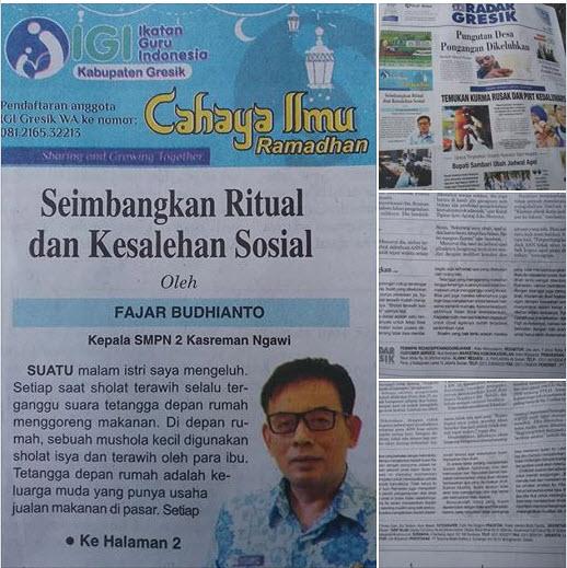 Tulisan Pak Fajar Budhianto, Kepala SMPN 2 Kasreman Ngawi Jawa timur