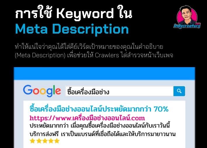 ใส่ keyword ใน meta description