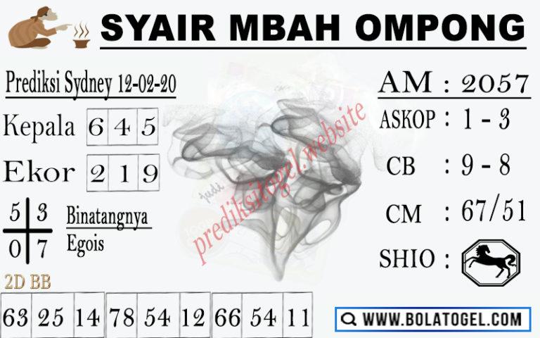 Prediksi Togel Sidney Sabtu 08 Februari 2020 - Syair Mbah Ompong