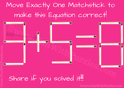 Answer of Matchstick Math Picture Brain Teaser for Kids