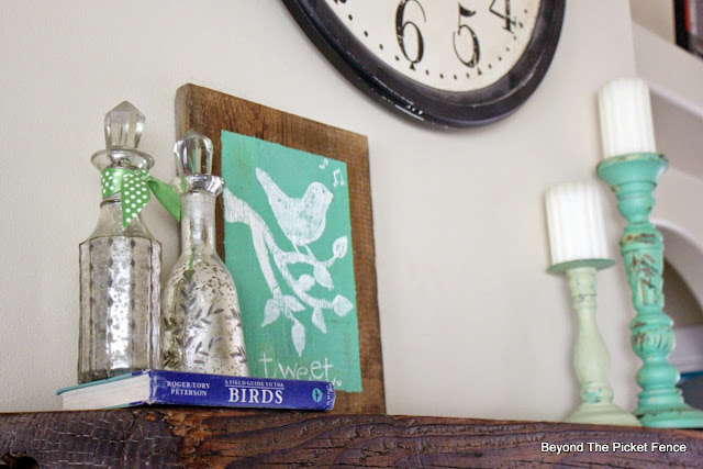 use simple objects to create a spring mantel