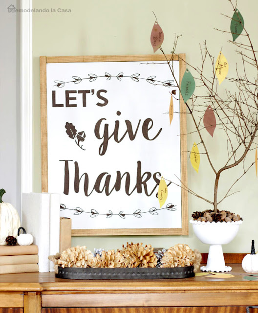 Let's give thanks wall art and thankful tree made of branches