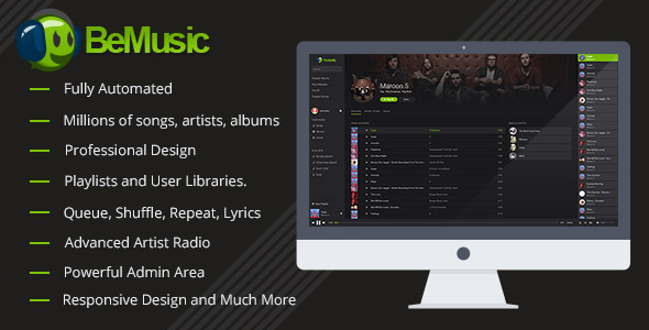 BeMusic allows yous to practice your ain music streaming website inwards minutes without coding kn BeMusic v2.3.4 - Music Streaming Engine Free Download