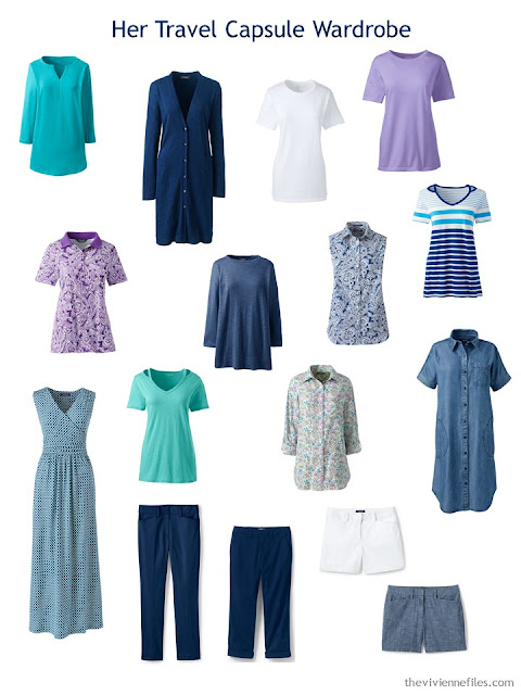 4 by 4 Travel Capsule Wardrobe in navy and white with accents of teal and lavender
