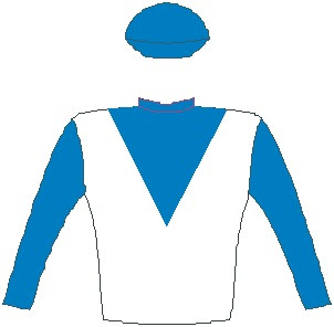 Elusive Silva - Jockey Silks - White, blue v bib, blue sleeves and cap - Horse Racing