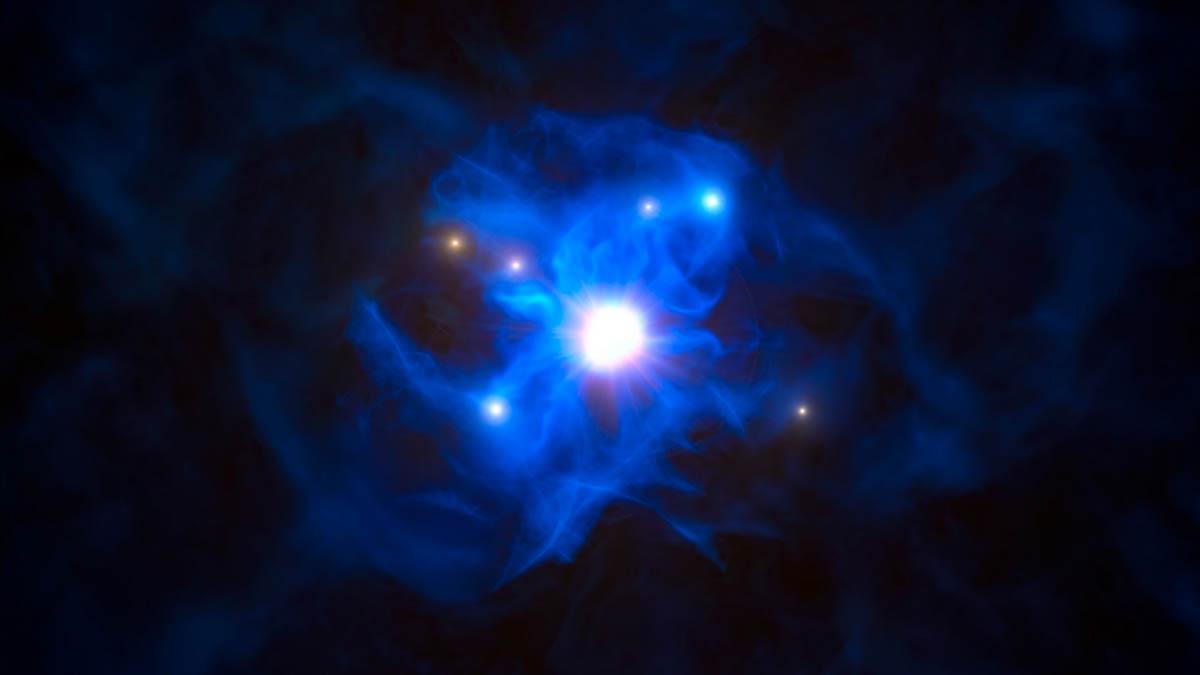 Concepção artística mostra o buraco negro central e as galáxias presas na sua teia de gás