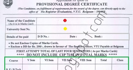 guyana birth, on provisional degree certificate application form vtu