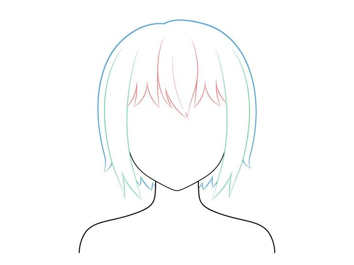 Menggambar Rambut Anime Pendek