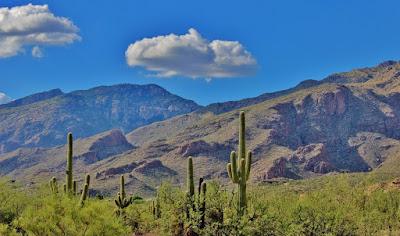 Аризона, США. Arizona, USA, горы, кактусы, небо