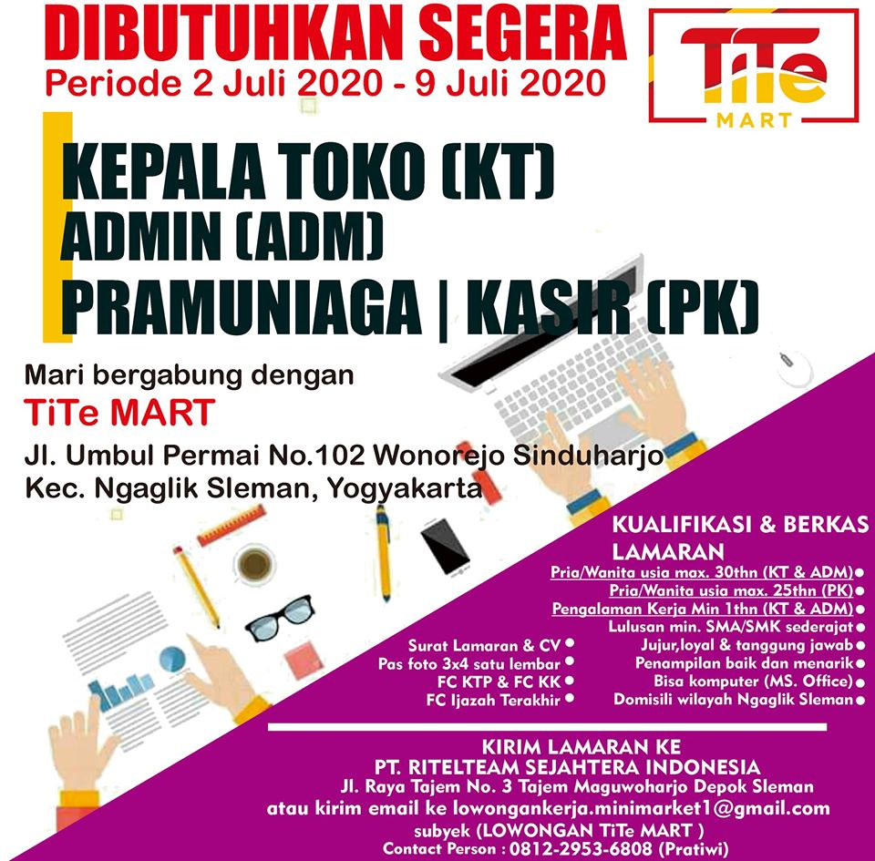 Loker Yogyakarta: guru smp muh 2 godean, kasir tite mart ...