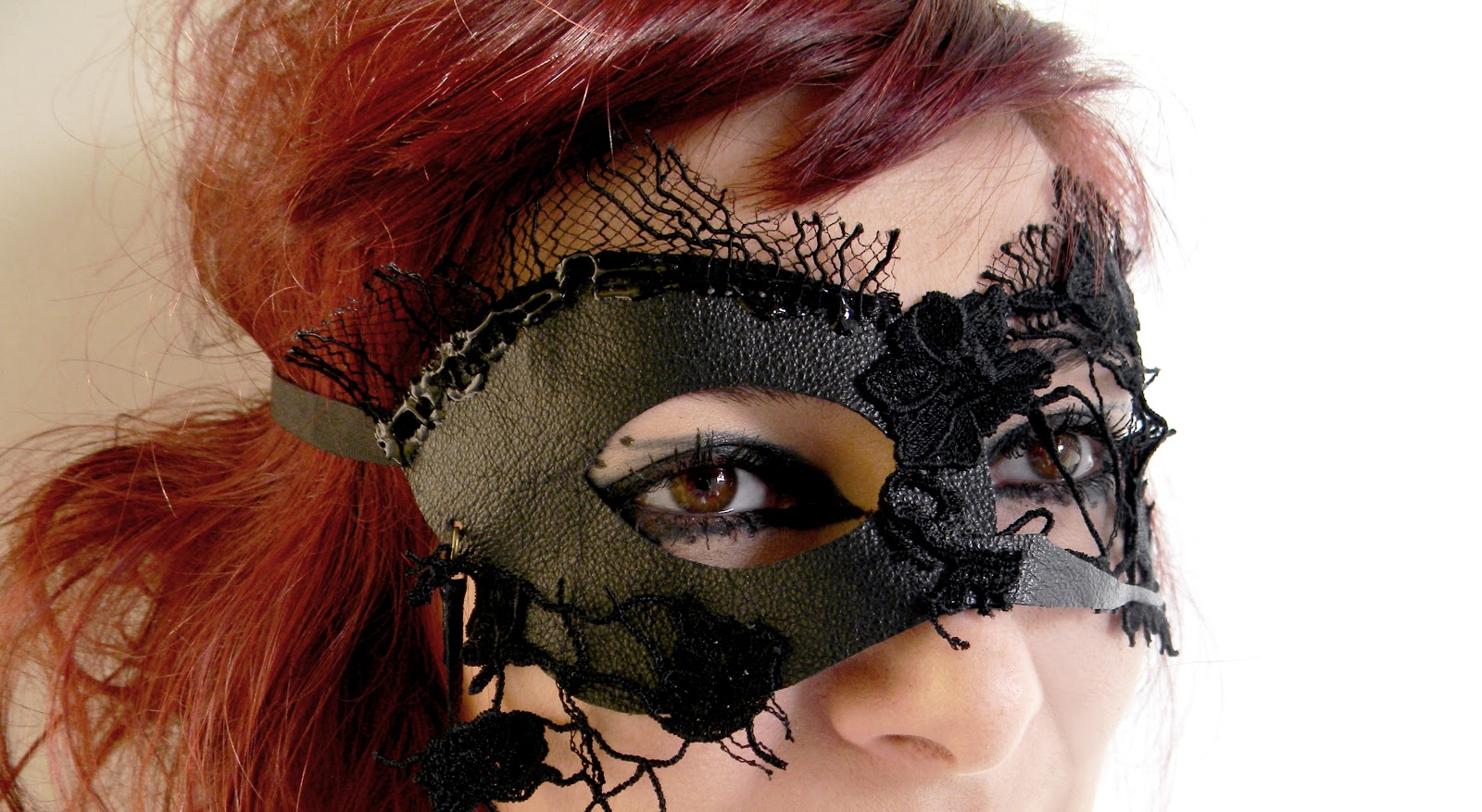 Handmade Leather Lace Mask Steampunk Gothic