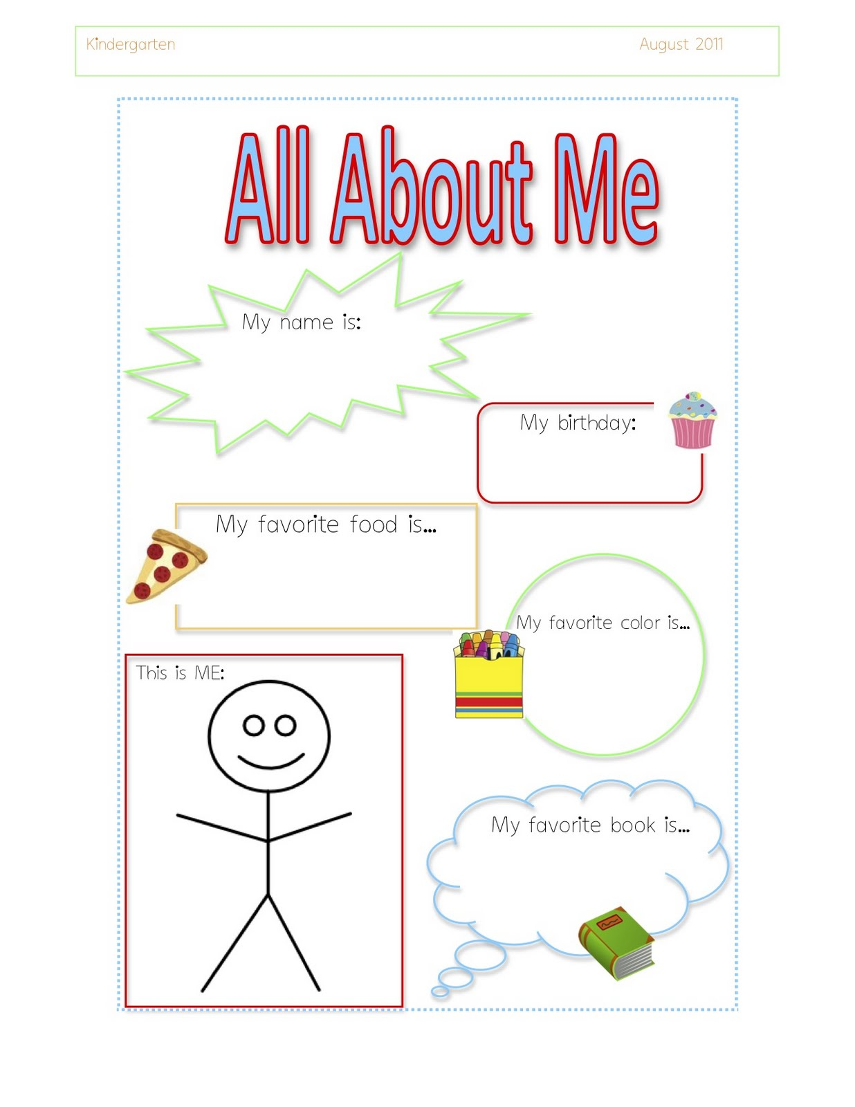 Preschool Printable All About Me Images