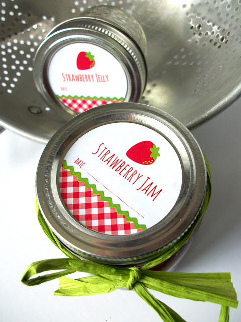 gingham strawberry jam jelly preserves canning labels