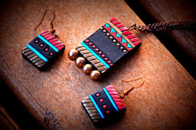 handmade rectangle shape terracotta earring for girls - quillingpaperdesign