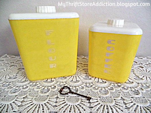 Yellow vintage canisters