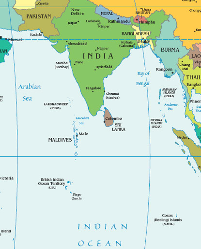 Maldives Map With India