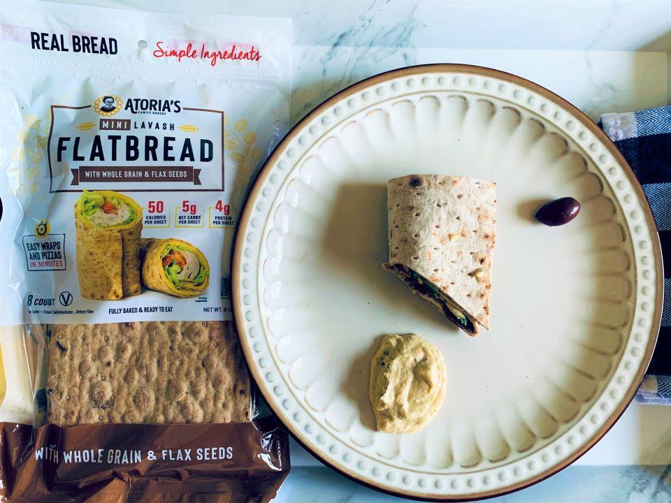 Atoria's whole grain and flax seed flatbread sandwich