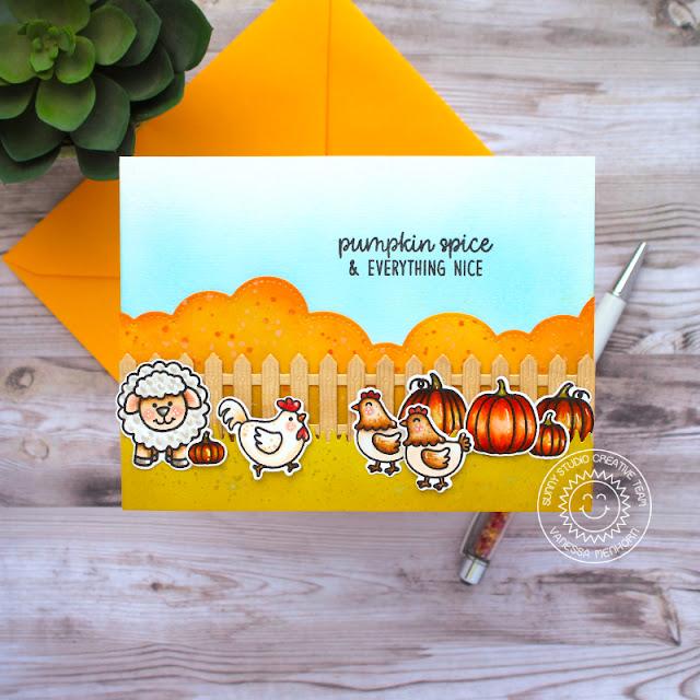Sunny Studio Stamps: Picket Fence Dies Farm Fresh Harvest Mice Slimline Dies Fall Card by Vanessa Menhorn
