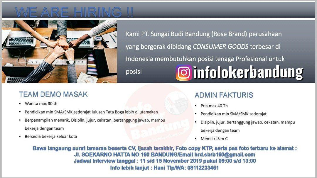 Lowongan Kerja PT. Sungai Budi ( Rose Brand ) Bandung November 2019