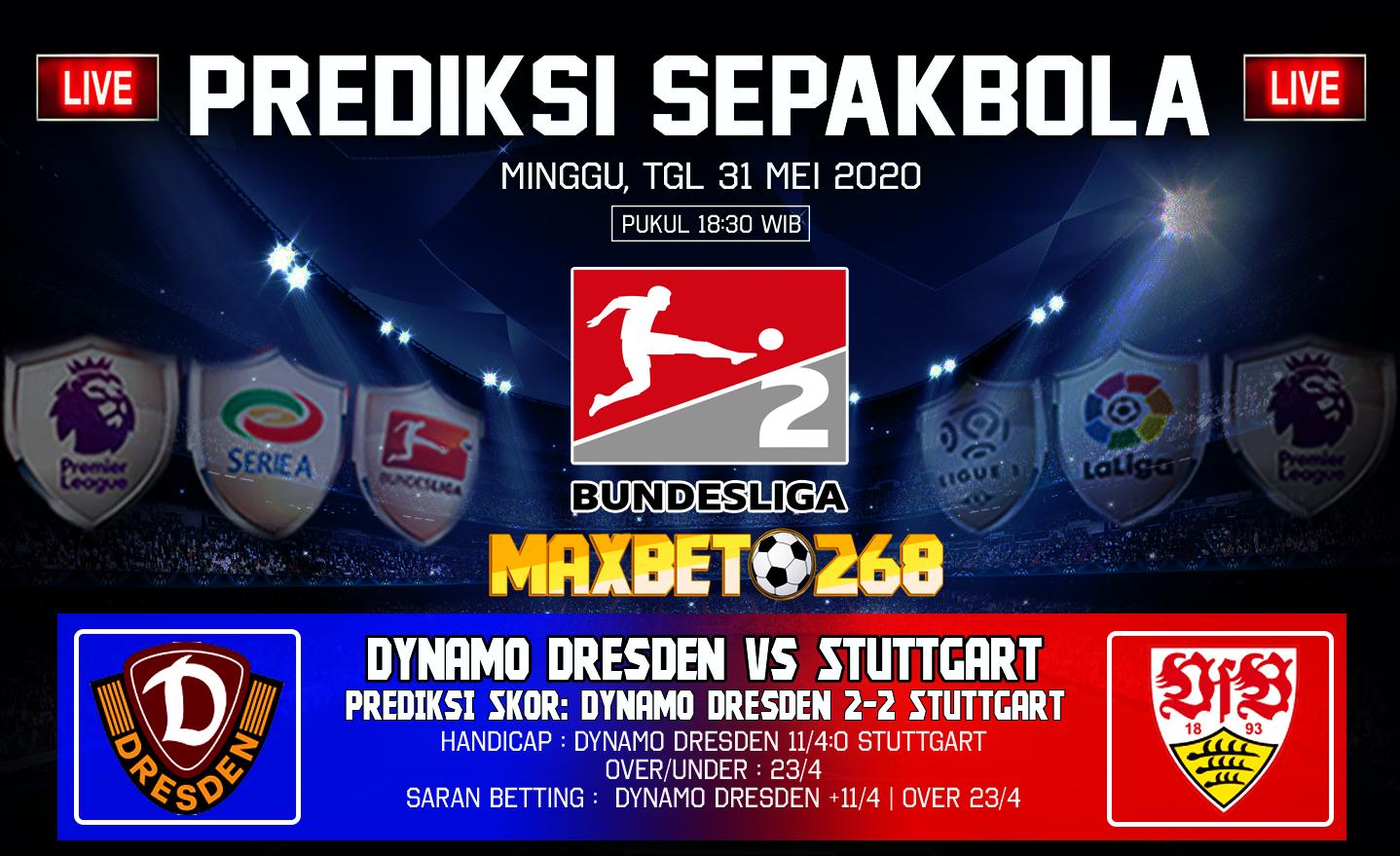 Prediksi Bola Dynamo Dresden Vs Stuttgart 31 Mei 2020 Pukul 18.30 WIB