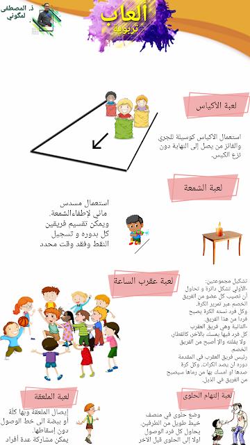 ملصق لألعاب تربوية يمكن إستغلالها أيام الأسبوع الوطني للتعاون المدرسي