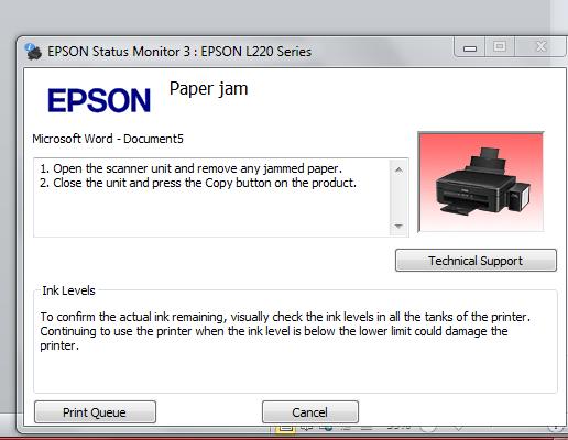 Tutorial Cara Mengatasi Error Paper Jam Epson L220