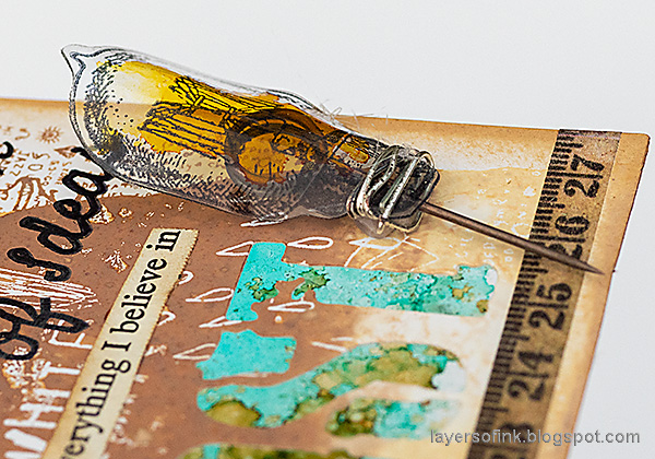 Layers of ink Sherlock Holmes Tag Tutorial by Anna-Karin Evaldsson. Faux light bulb.