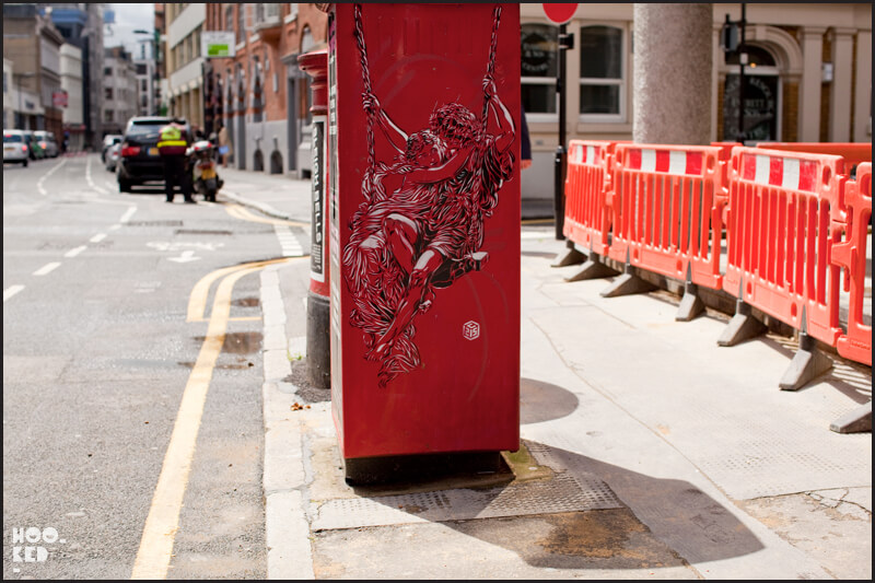 London Street Art stencil work by French artist C215