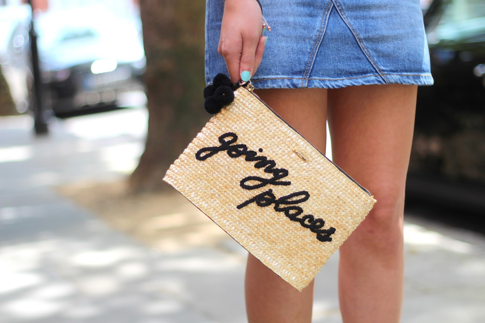 going places kate spade straw clutch