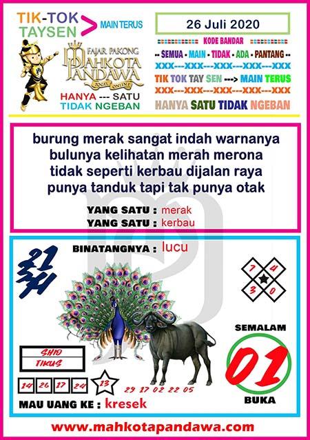 Syair Mahkota Pandawa SGP Minggu 26 Juli 2020