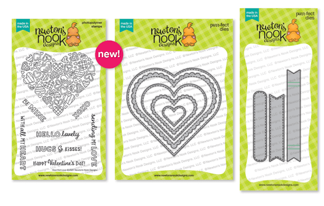 Heartfelt Love Stamp set, Heart Frames Die Set and Banner Trio Die Set by Newton's Nook Designs