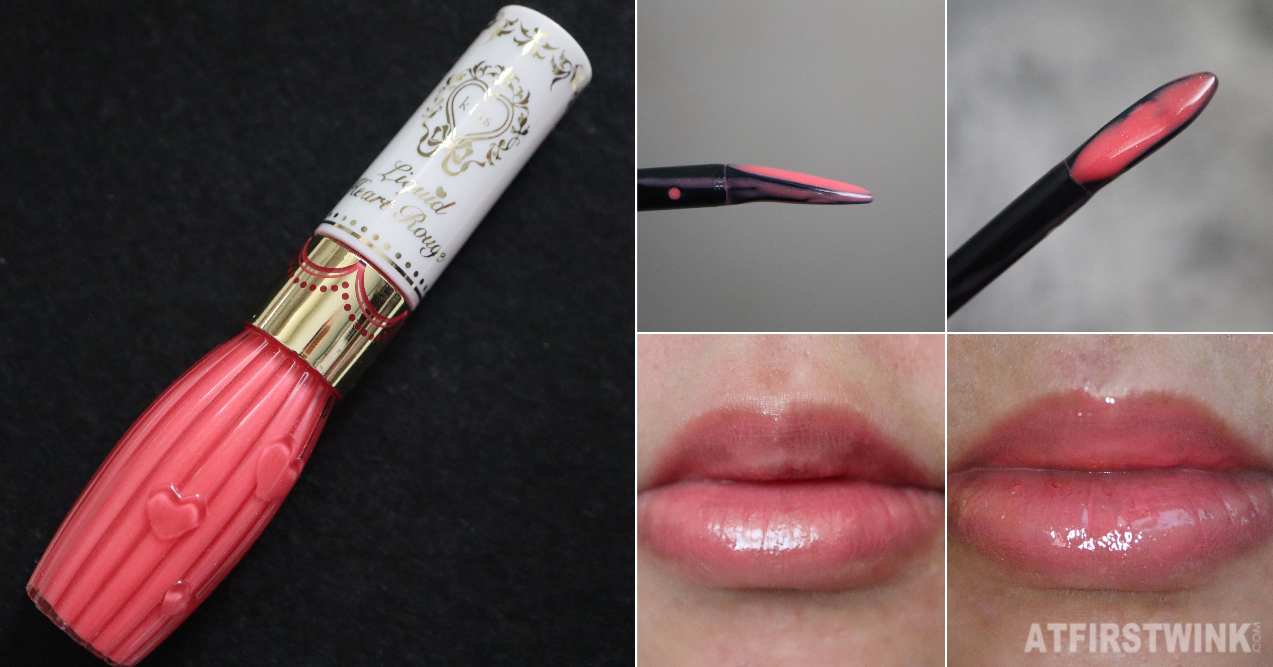 Kiss liquid heart rough lipgloss 03 apricot wink review lip swatch day night