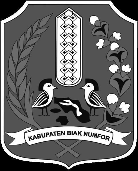 Logo Kabupaten Biak Numfor Hitam Putih Galeriku