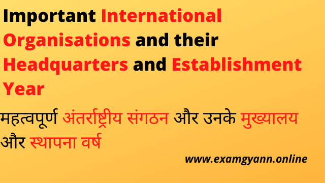 Important International Organisations and their Headquarters and Establishment Year
