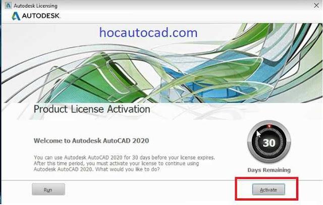 Hướng dẫn kích hoạt bản quyền Autocad 2020