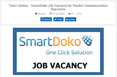 Tutor Chetan - SmartDoko Job Vacancy for Vendor Communication Executive