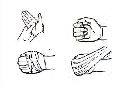 balutan pada tangan mengepal menghentikan perdarahan