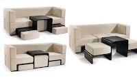 İçinden iki oturak ve bir sehpa çıkan modüler kanepe