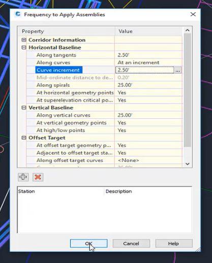 Curve increment in Autodesk Civil 3D