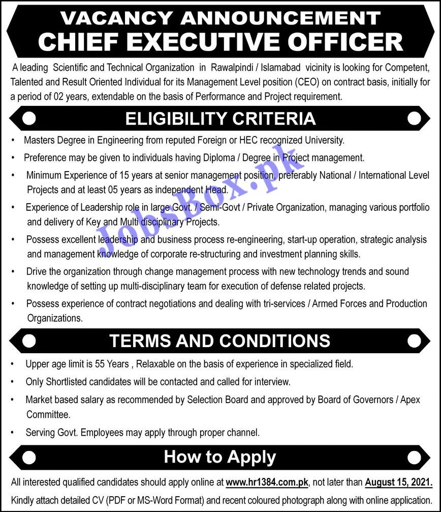 www.hr1384.com.pk Jobs 2021 - Scientific and Technical Organization Jobs 2021 in Pakistan
